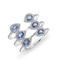 Anne Sisteron | 14kt White Gold Blue Sapphire Diamond Open Circuit Ring | Lyst