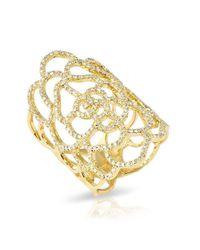 Anne Sisteron | Metallic 14kt Yellow Gold Diamond Camellia Flower Ring | Lyst