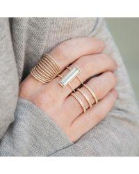 Anne Sisteron - Metallic 14kt Yellow Gold Aquamarine Diamond Beam Ring - Lyst