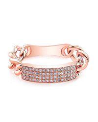 Anne Sisteron | Metallic 14kt Rose Gold Diamond Id Tag Ring | Lyst