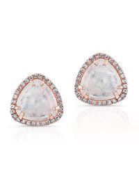 Anne Sisteron | Multicolor 14kt Rose Gold Diamond Moonstone Stud Earrings | Lyst