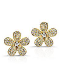 Anne Sisteron | Metallic 14kt Yellow Gold Diamond Flower Earrings | Lyst