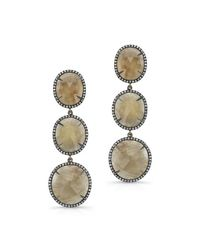 Anne Sisteron | Metallic 14kt Oxidized Yellow Gold Sapphire Diamond Triple Drop Earrings | Lyst