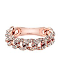 Anne Sisteron | Multicolor 14kt Rose Gold Diamond Thin Chain Link Ring | Lyst