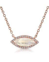 Anne Sisteron | Metallic 14kt Rose Gold Moonstone Diamond Mini Marquis Necklace | Lyst