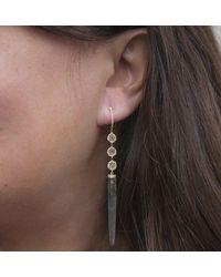 Anne Sisteron - Metallic 14kt Rose Gold Diamond Slice Labradorite Drop Earrings - Lyst
