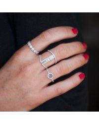 Anne Sisteron - Multicolor 14kt Rose Gold Baguette Diamond H Ring - Lyst