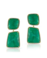 Anne Sisteron | Green 14kt Yellow Gold Chrysoprase Diamond Chrysa Earrings | Lyst