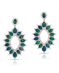Anne Sisteron - Blue 14kt Rose Gold Diamond Opal Kai Earrings - Lyst