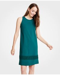 Ann Taylor - Green Lace Hem Tank Dress - Lyst