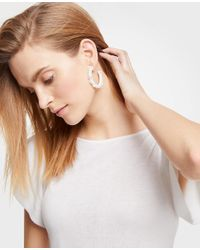 Ann Taylor - White Seed Bead Hoop Earrings - Lyst