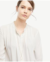 Ann Taylor - Metallic Pave Bezel Pendant Necklace - Lyst