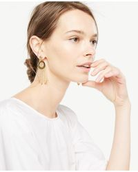 Ann Taylor - Metallic Circle Chain Statement Earrings - Lyst