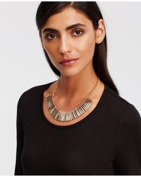 Ann Taylor - Metallic Mixed Pave Bar Necklace - Lyst
