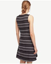 Ann Taylor - Gray Stripe Tweed Curve Seam Flare Dress - Lyst