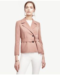 Ann Taylor | Pink Belted Twill Jacket | Lyst
