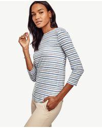 Ann Taylor - Blue Striped 3/4 Sleeve Linen Tee - Lyst
