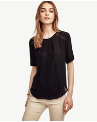 Ann Taylor - Black Lace Inset Top - Lyst