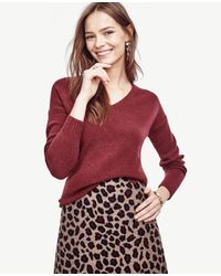 Ann Taylor | Red V-neck Tunic Sweater | Lyst