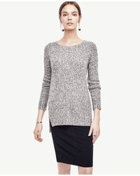 Ann Taylor | Gray Marled Crew Neck Tunic Sweater | Lyst