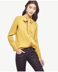Ann Taylor | Yellow Piped Tie Neck Blouse | Lyst