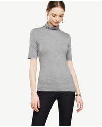 Ann Taylor | Gray Short Sleeve Turtleneck | Lyst