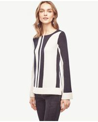 Ann Taylor | Blue Colorblock Flare Sleeve Sweater | Lyst