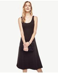 Ann Taylor   Black Doubleface Flare Dress   Lyst