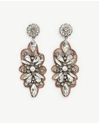 Ann Taylor | Metallic Floral Statement Earrings | Lyst