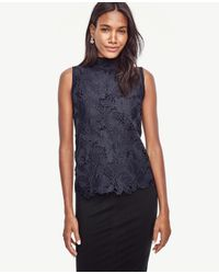 Ann Taylor | Blue Lace Front Sleeveless Top | Lyst