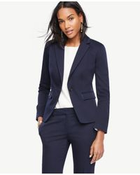 Ann Taylor | Blue Cotton Sateen One Button Jacket | Lyst