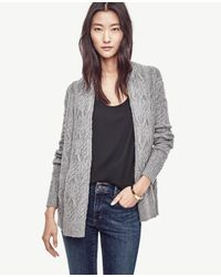 Ann Taylor | Gray Cable Open Cardigan | Lyst