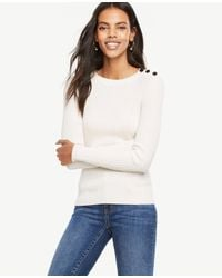 Ann Taylor | White Shoulder Button Ribbed Sweater | Lyst