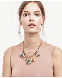 Ann Taylor - Metallic Daisy Charm Necklace - Lyst