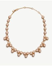 Ann Taylor | Metallic Round Stone Necklace | Lyst