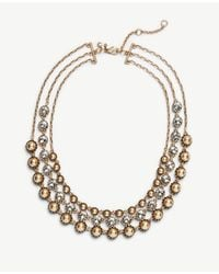 Ann Taylor - Metallic Trio Layer Necklace - Lyst