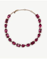 Ann Taylor | Pink Mixed Crystal Necklace | Lyst