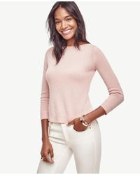 Ann Taylor | Pink Petite Wool Cashmere Boatneck Sweater | Lyst