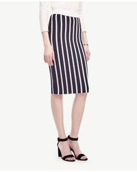 Ann Taylor | Blue Striped Sweater Pencil Skirt | Lyst