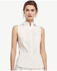 Ann Taylor   White Petite Sleeveless Perfect Shirt   Lyst