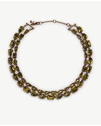 Ann Taylor | Metallic Double Layer Mixed Crystal Necklace | Lyst