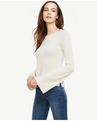 Ann Taylor | Natural Cashmere Fluted Sleeve Sweater | Lyst