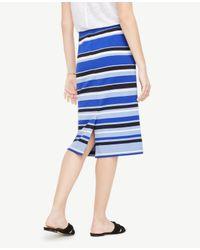 Ann Taylor - Blue Striped Ponte Pencil Skirt - Lyst