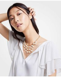 Ann Taylor - White Pearlized Drop Statement Necklace - Lyst