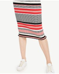 Ann Taylor - Red Striped Sweater Pencil Skirt - Lyst
