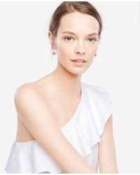 Ann Taylor - Pink Small Bezel Drop Earrings - Lyst