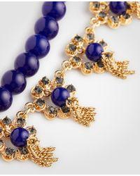 Ann Taylor - Blue Pave Flower Tassel Necklace - Lyst