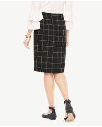 Ann Taylor - Black Curvy Windowpane Pencil Skirt - Lyst