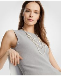Ann Taylor - Metallic Pearlized Tier Necklace - Lyst