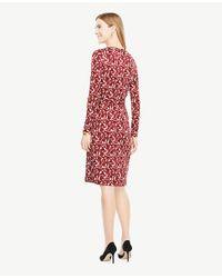 Ann Taylor - Red Petite Floral Wrap Dress - Lyst